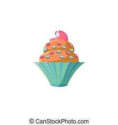 Cute Cupcake With Sprinkles Flat Vector Cute Girly Style...