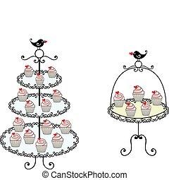 cute cupcakes - cupcakes on tray, vector