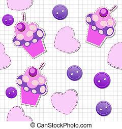 cute, cupcakes, padrão, seamless, ilustração, vetorial