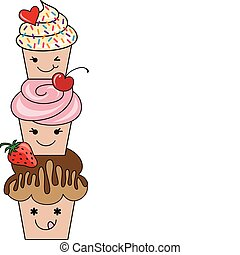 cute cupcakes, vector - cute cupcakes with fruits and heart,...
