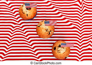 Cute cupcakes with american flag, Happy flag day background