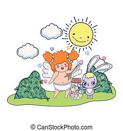 cute cupid chubby girl with rabbit