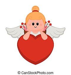Cute cupid girl on a heart shape