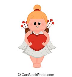 Cute cupid girl with a heart shape