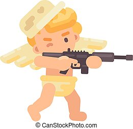 Cute cupid in a military cap shooting a rifle. Valentines Day flat character illustration