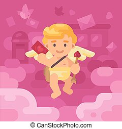 Cute cupid postman delivering a lov letter with envelopes, hearts and presents falling all around. Valentines day greeting card flat illustration