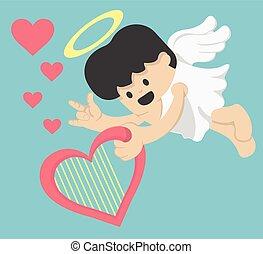 Cute cupid The symbol of Valentine's Day. Cartoon vector illustration