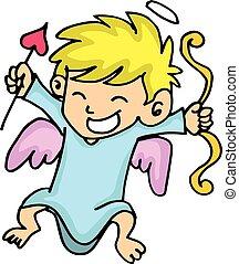 Cute cupid with arrow cartoon