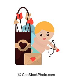cute cupid with bow arrow message love valentine