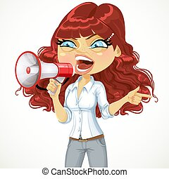 Cute curly-haired girl emotionally shouts in a megaphone or protests isolated on white background