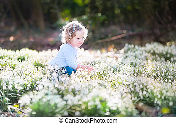 Cute curly toddler girl playing with first spring flowers
