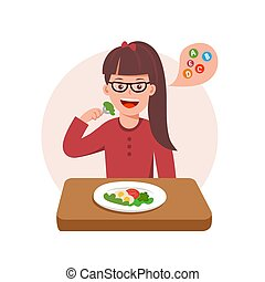 Cute curtoon vector illustration of girl sad with her dinner