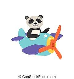 Cute cute animal panda flies on a funny plane.