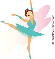 Cute Cyan Ballerina Girl Isolated on White - Cute cyan ...