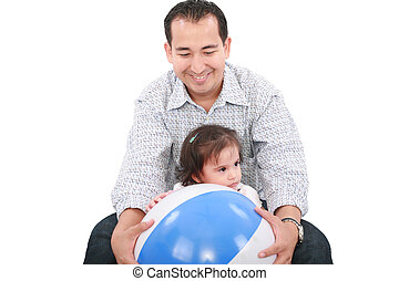 cute dad with his daughter playing on a white