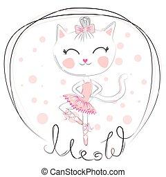 Cute dancing cat ballerina in the blue tutu. Cartoon hand drawn.