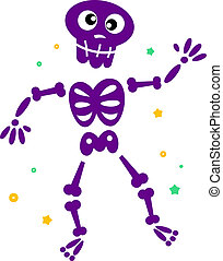 Cute dancing skeleton isolated on white