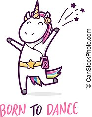 Cute dancing unicorn. Vector cartoon illustration - Cute...