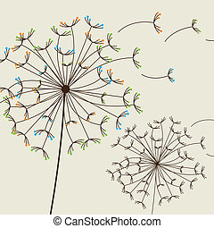dandelions - cute dandelions over beige background. vector...
