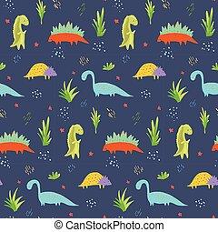 Cute dark blue dinosaurs pattern for kids textile