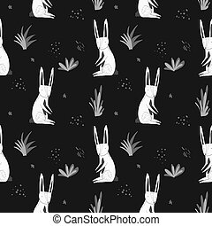 Cute dark pattern with cartoon rabbits and grass