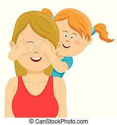 Cute daughter covering mother's eyes with her hands