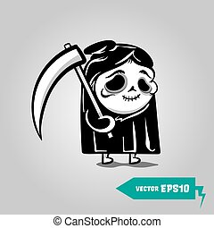Cute Death with a scythe halloween sticker. Comic book sketch vector. Stitched thread funny monochrome zombie monster.