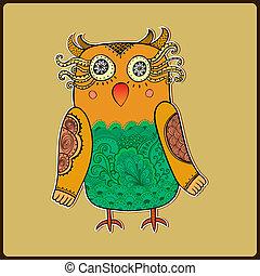 Cute Decorative Owl, vector illustr
