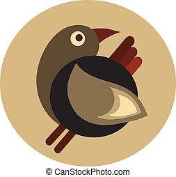 cute decorative retro brown bird - 1