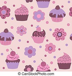 Cute decorative seamless pattern with different flowers and cupcakes