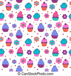 Cute decorative seamless pattern with sweet cupcakes and different flowers
