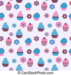 Cute decorative seamless pattern with sweet cupcakes and flowers