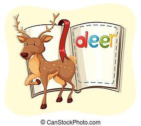 Cute deer and a book
