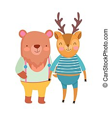 cute deer and bear with clothes cartoon on white background