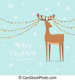 Cute Deer and Christmas Lights on Blue Snowy Background