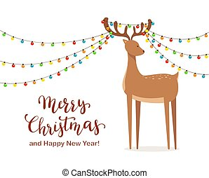 Cute Deer and Christmas Lights on Horns
