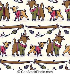 Cute deer and doe cartoon seamless vector pattern. Hand drawn forest wildlife tile