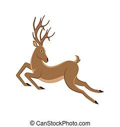 Cute Deer Cartoon Running. Reindeer Moving. Leaping Stag -...