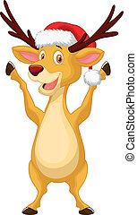 Cute deer cartoon waving