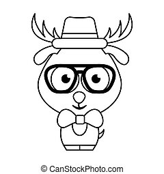 633a44c9d06 Cute hipster deer with hat and glasses winter background. christmas ...