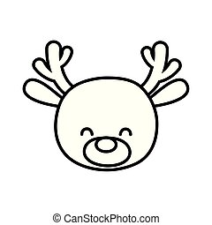 cute deer head cartoon icon thick line