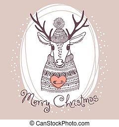 cute, deer., ilustração, mão, vetorial, feliz, desenhado, cartão natal