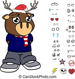 cute deer kid cartoon xmas collection set