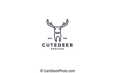 cute deer or antelope line minimalist logo design