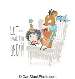 Cute deer reading book to a little boy