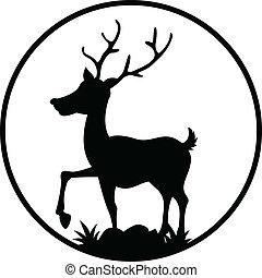 cute deer silhouette - vector illustration of cute deer...