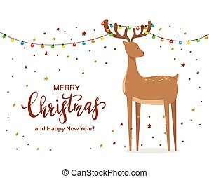 Cute Deer with Christmas Lights on Horns and Stars
