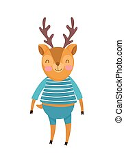 cute deer with clothes cartoon character on white background