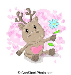 Cute deer with hearts cartoon.