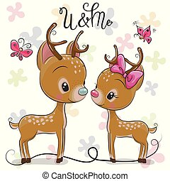 Cute Deers boy and girl on a hearts background